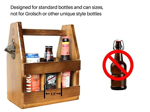 Teikis Wooden Beer Carrier With Bottle Opener And Magnetic Cap Catch